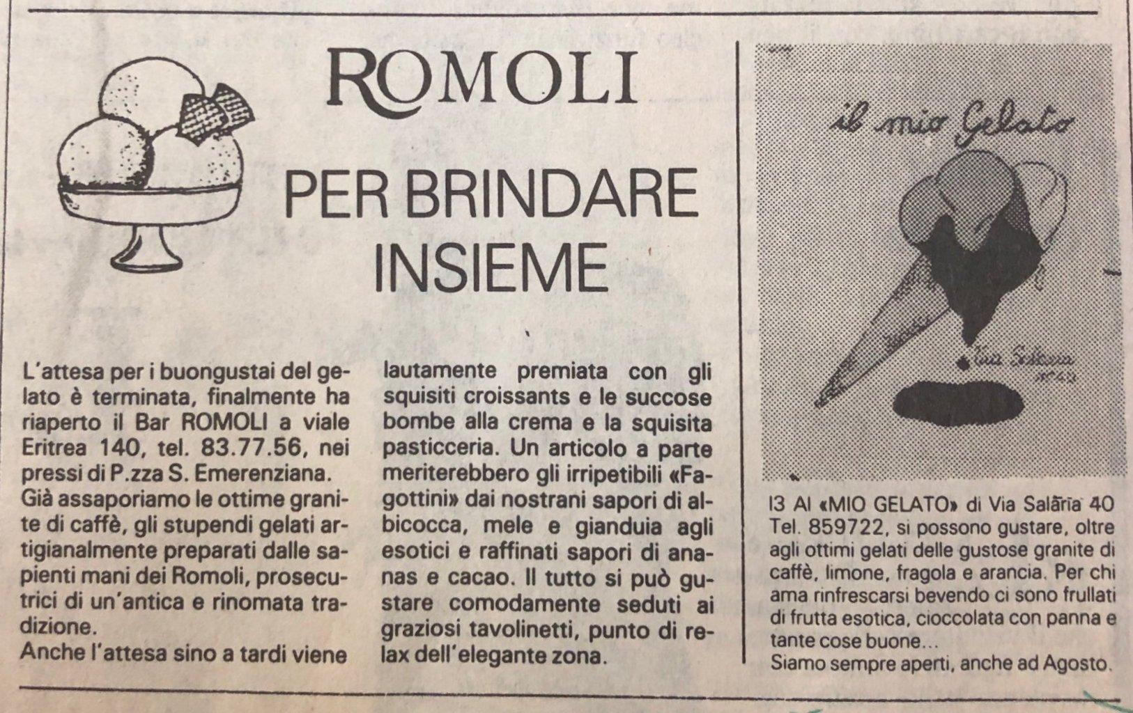 Articoli storici Bar Romoli Roma (1) -Roma