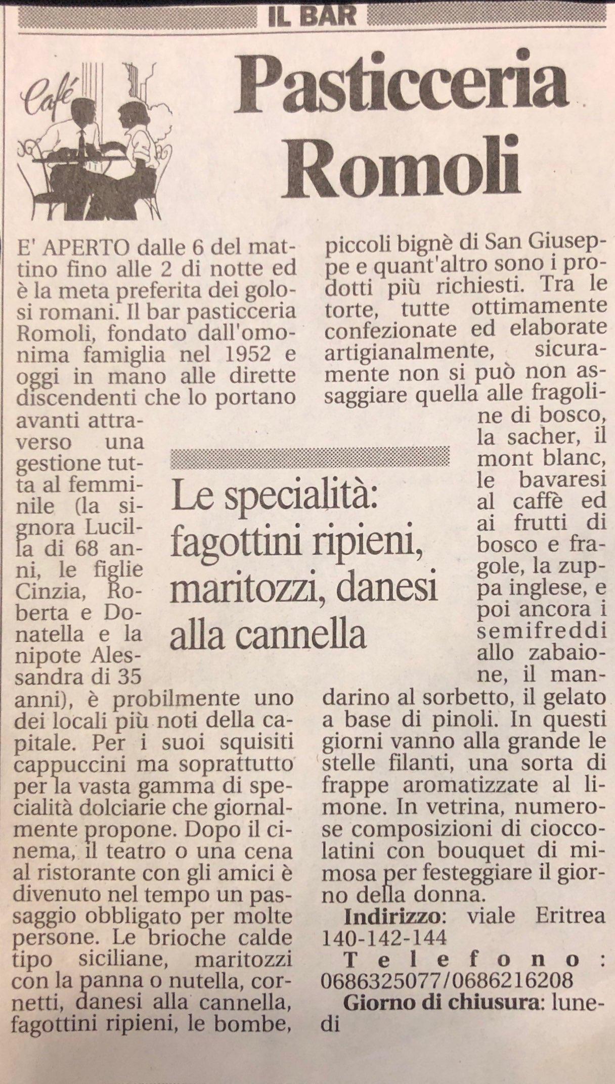 Articoli storici Bar Romoli Roma (3)